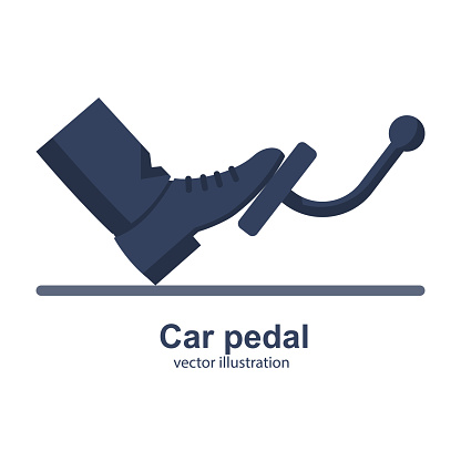 Man presses a foot pedal car