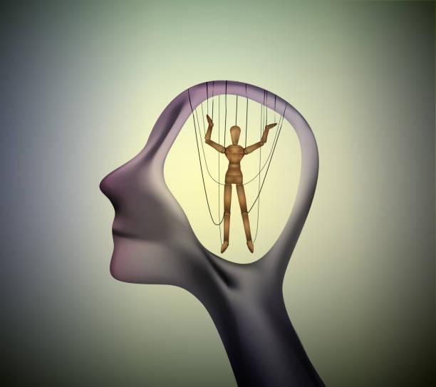 mann profil kopf mit marionette im inneren, das konzept der menschen zu manipulieren, - strickideen stock-grafiken, -clipart, -cartoons und -symbole