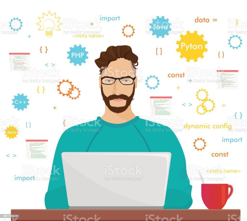 男性プログラマ ヒップスターは、コーディングと彼のラップトップでプログラミングに取り組んでいます。プログラマ php コード職業概念 ベクターアートイラスト