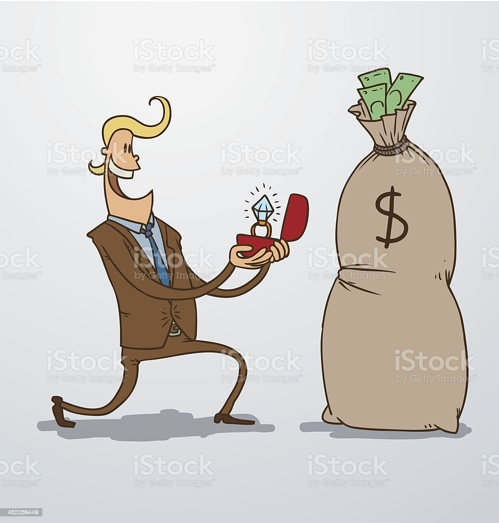 Man proposing marriage to a bag of money royalty-free stock vector art