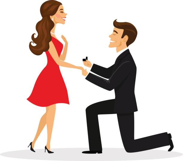 Man proposing to a woman standing on knee vector illustration vector art illustration