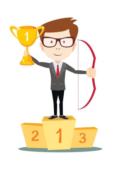 man proudly standing , holding up winning trophy and bow. vector art illustration