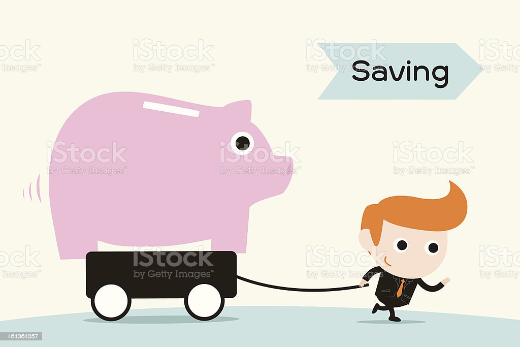 man pulling Piggy coin bank royalty-free stock vector art