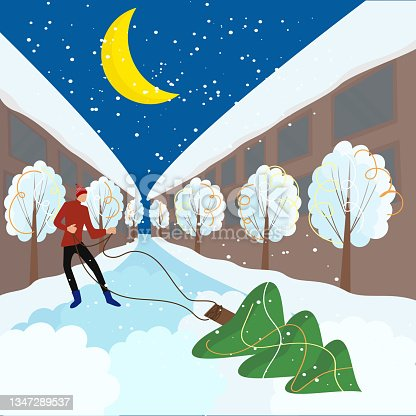 istock man pulls a Christmas tree at night 1347289537