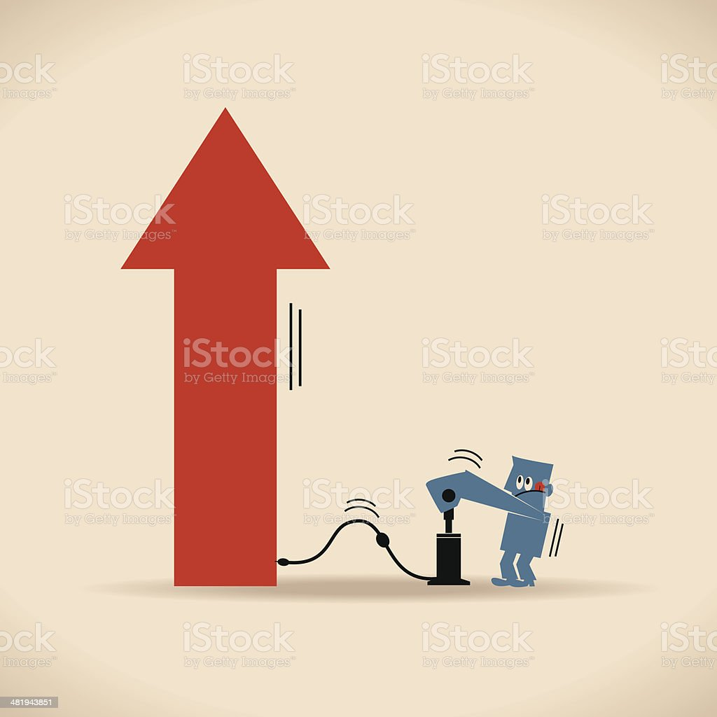 Man Pumping Thing Up royalty-free man pumping thing up stock vector art & more images of achievement