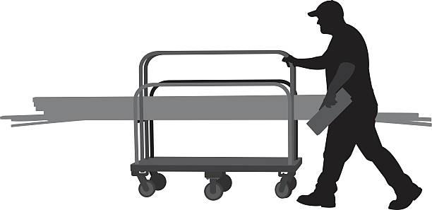 Mann Schieben Einkaufswagen von hölzernen Planken-Silhouette – Vektorgrafik