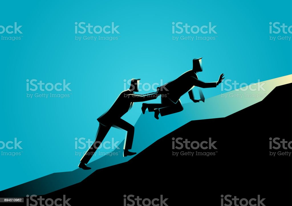 Man pushing his exhausted friend uphill vector art illustration