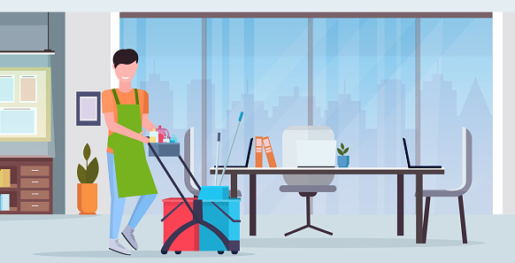 man pushing trolley cart male cleaner janitor in uniform cleaning service concept modern co-working center office interior flat full length horizontal