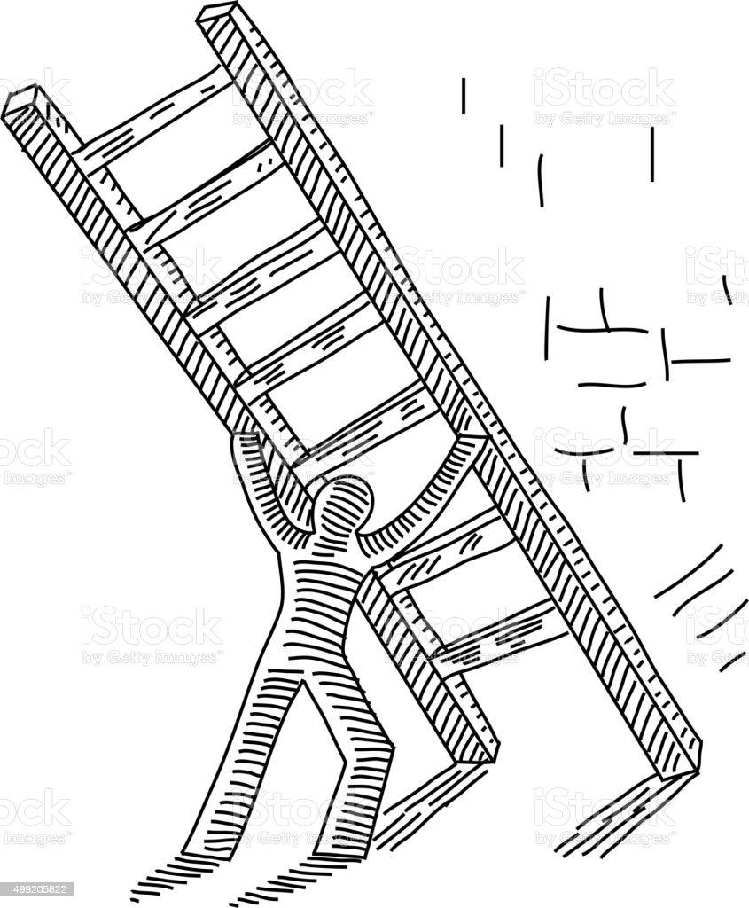 Man Pushing up Ladder Drawing vector art illustration
