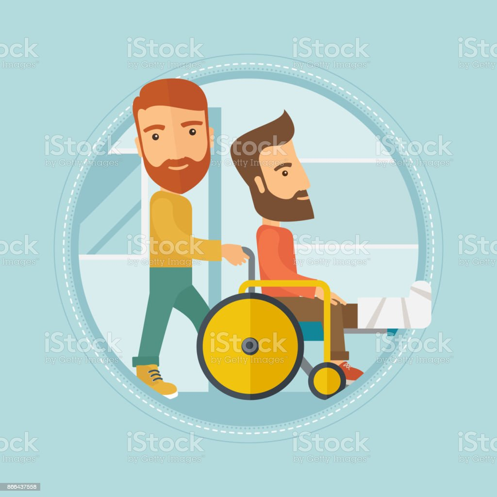 Man pushing wheelchair with patient vector art illustration