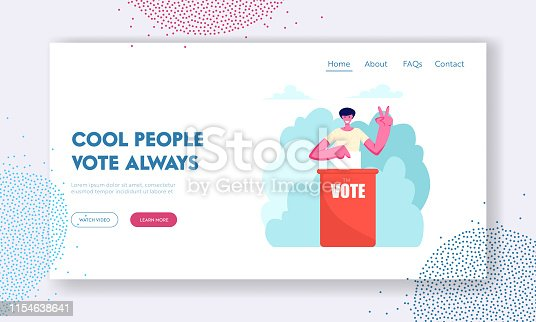 Man Put Paper Vote into Ballot Box Showing Victory Gesture. Male Character Execute Rights and Duties in Political Country Life Website Landing Page, Web Page. Cartoon Flat Vector Illustration, Banner