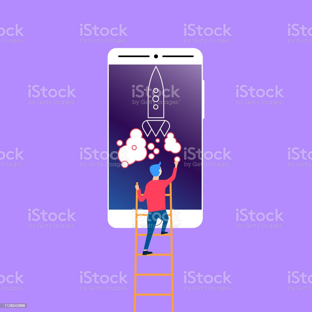 Man putting a smoke circle to the rocket launch on the smartphone...