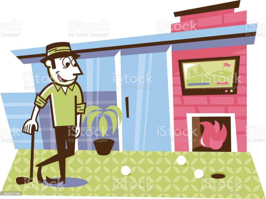 Man putting golf balls on his back porch vector art illustration