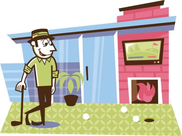 man putting golf balls on his back porch - peter bajohr stock illustrations