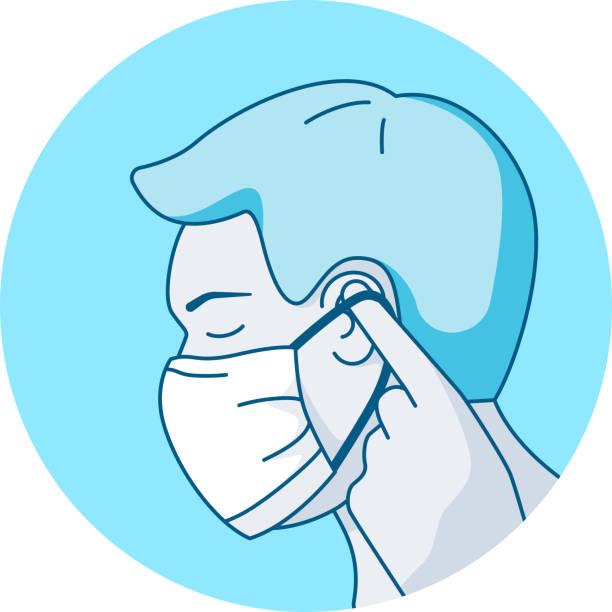 mann setzen auf gesichtsmaske schützende raspiratory maske zur vorbeugung von covid virus-infektion - ffp2 maske stock-grafiken, -clipart, -cartoons und -symbole