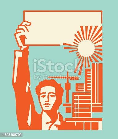 Man Raising a Sign by a City