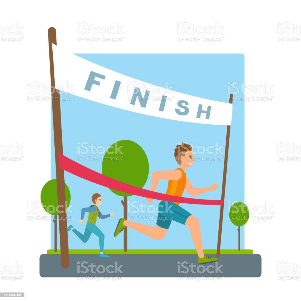 Homem atinge acabamento, fita vermelha, fita na maratona. - Vetor de Acabando royalty-free
