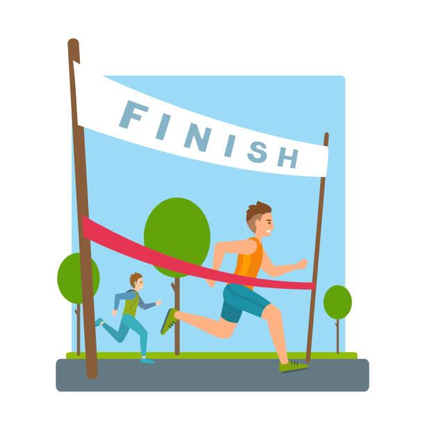 Man reaches finish, red ribbon, tape in marathon. Boys run, finish the race. Vector cartoon illustration. finishing stock illustrations