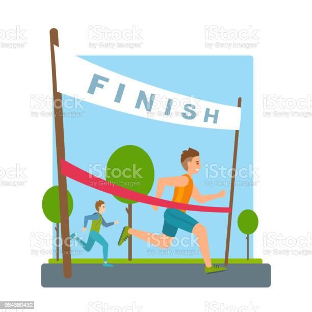 Vetores de Homem Atinge Acabamento Fita Vermelha Fita Na Maratona e mais imagens de Acabando