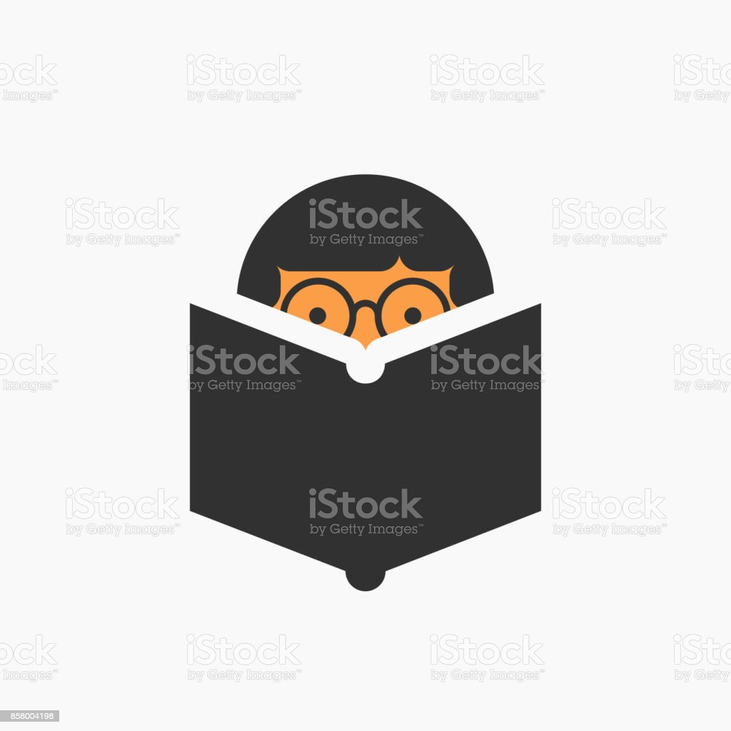 Man reading a book icon vector art illustration