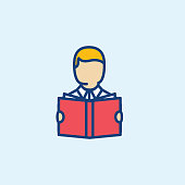 Man Reading A Book Thin Line Education Icon