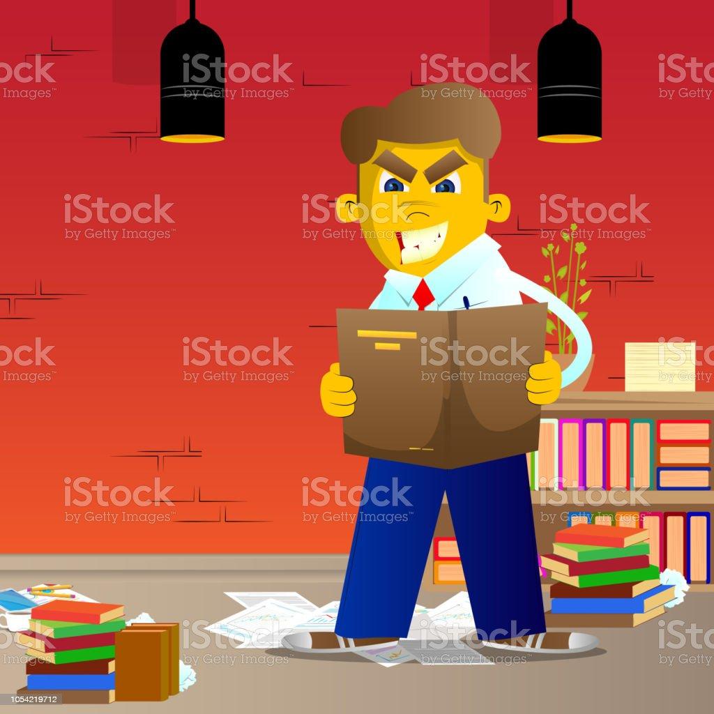 Man reading a book. vector art illustration
