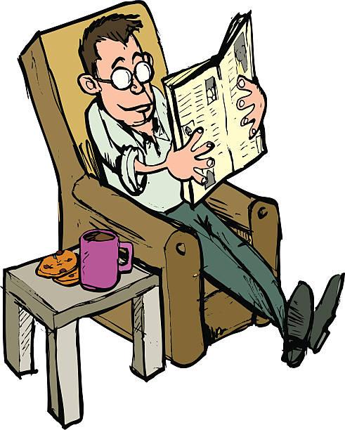 bildbanksillustrationer, clip art samt tecknat material och ikoner med man reading a paper - 50 59 år