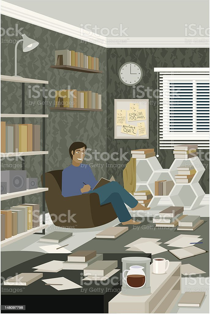 Man Reading Book in Messy Room Covered with Paper vector art illustration