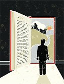 Loose yourself in a good book! A stylized vector cartoon of a book in the shape of an open door with light streaming in and a cityscape behind, the style is  reminiscent of an old screen print poster. Suggesting opportunity, hope, Education, reading, escape, career path,journey, or losing yourself in good book. Man, Book, cityscape, paper texture and background are on different layers for easy editing. Please note: clipping paths have been used,  an eps version is included without the path.