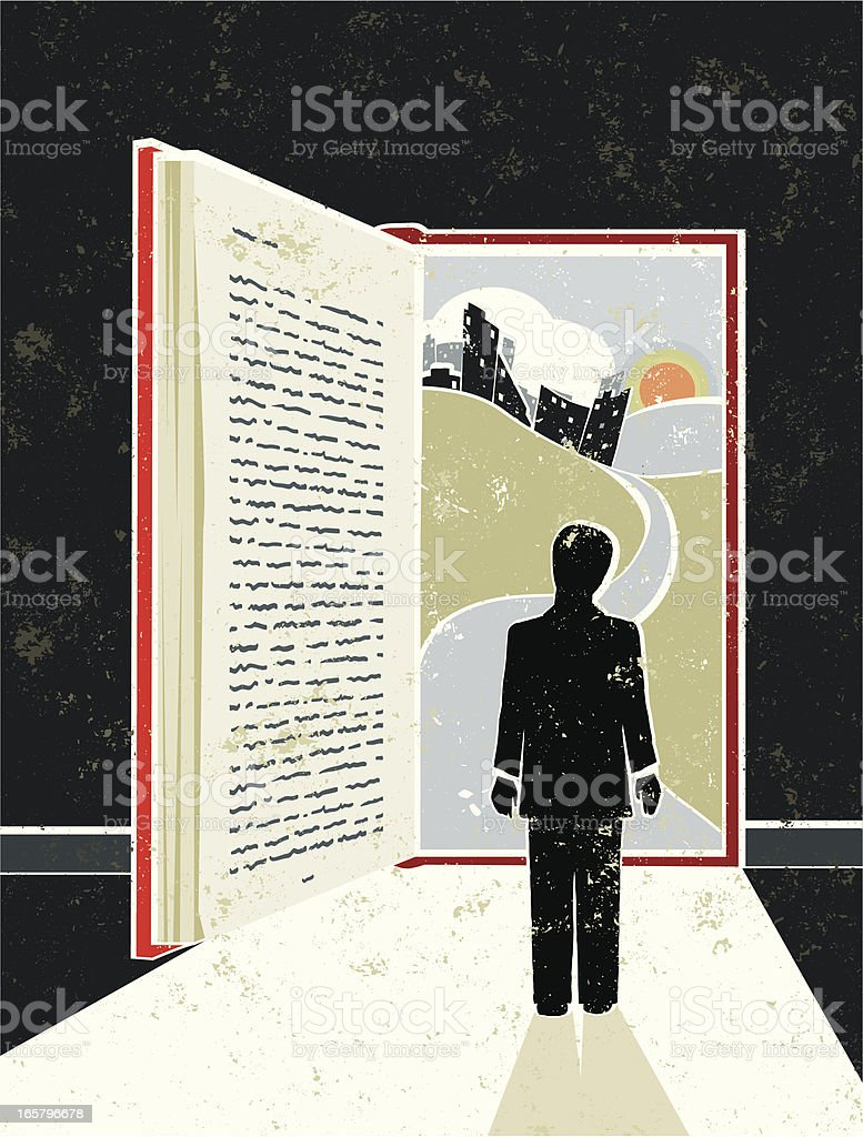 Man Reading Book showing Cityscape, suggesting an Open Doorway vector art illustration