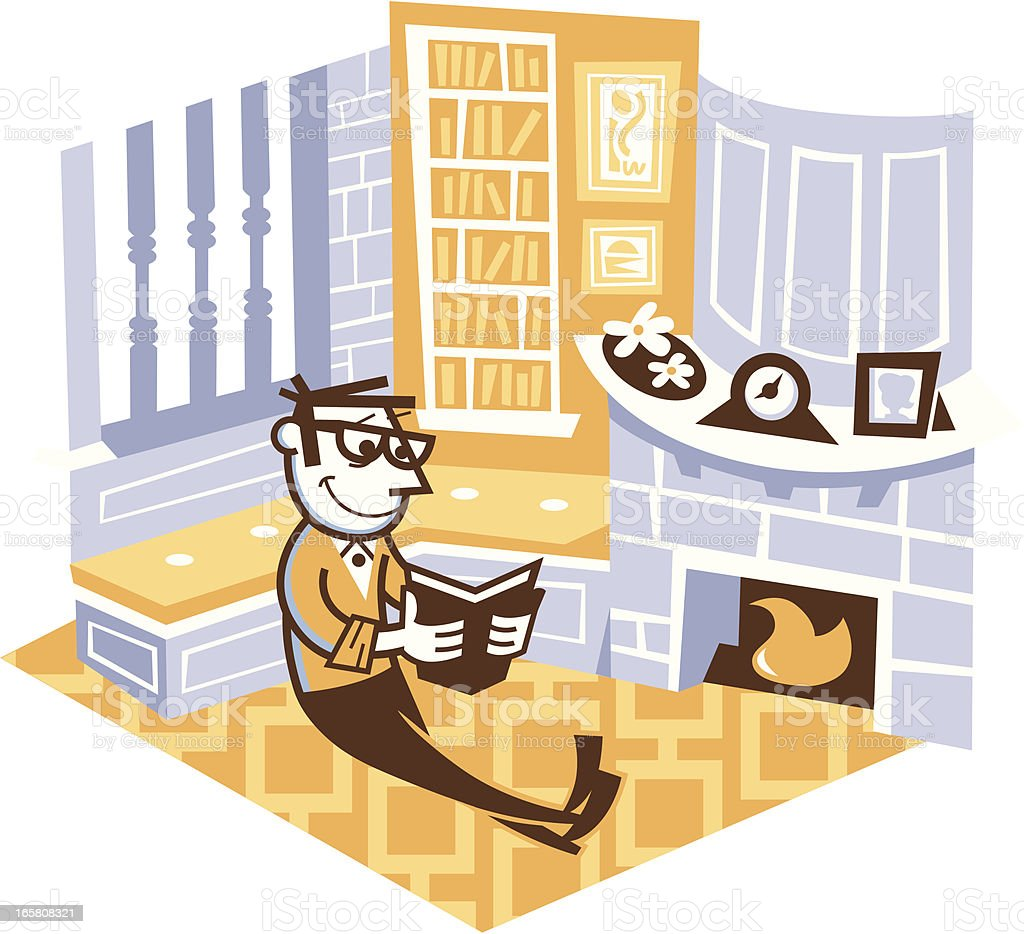 man reading in his study room vector art illustration