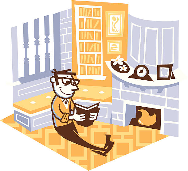 man reading in his study room - peter bajohr stock illustrations