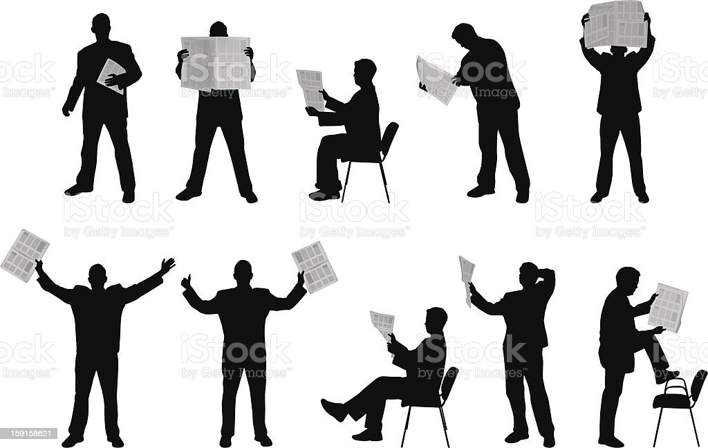 Man reading newspapers silhouettes royalty-free stock vector art