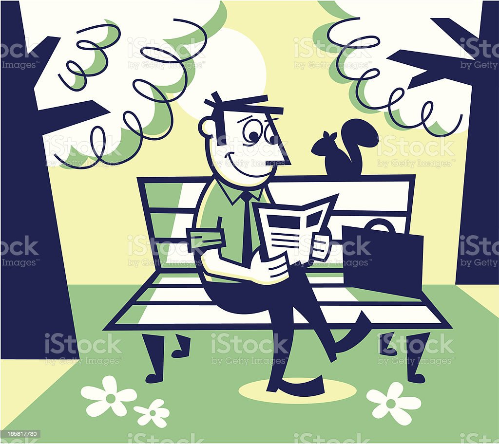 man reading on a park bench vector art illustration