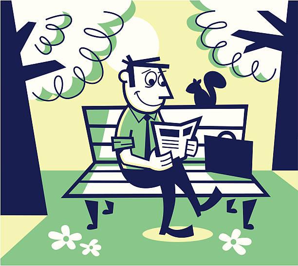 man reading on a park bench - peter bajohr stock illustrations
