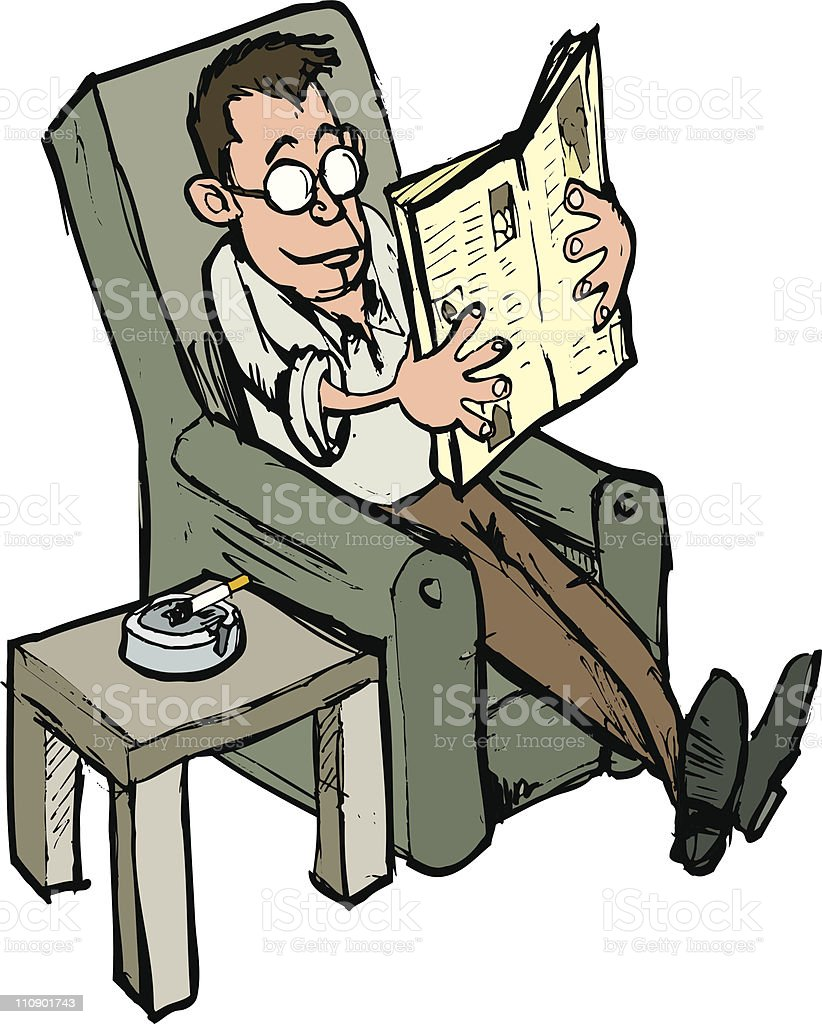 Man reading sunday paper with a cigarette royalty-free stock vector art