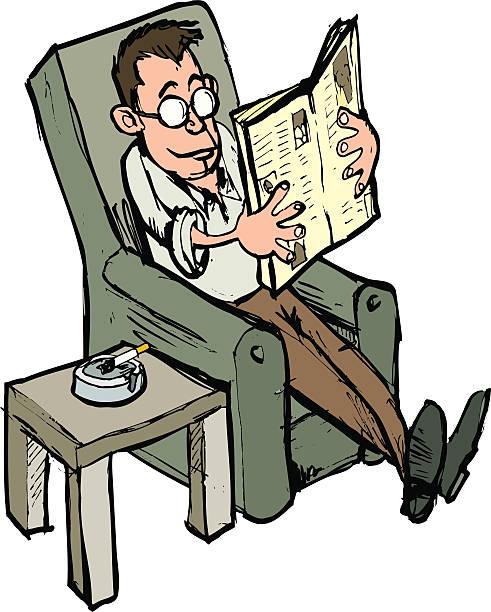 bildbanksillustrationer, clip art samt tecknat material och ikoner med man reading sunday paper with a cigarette - 50 59 år