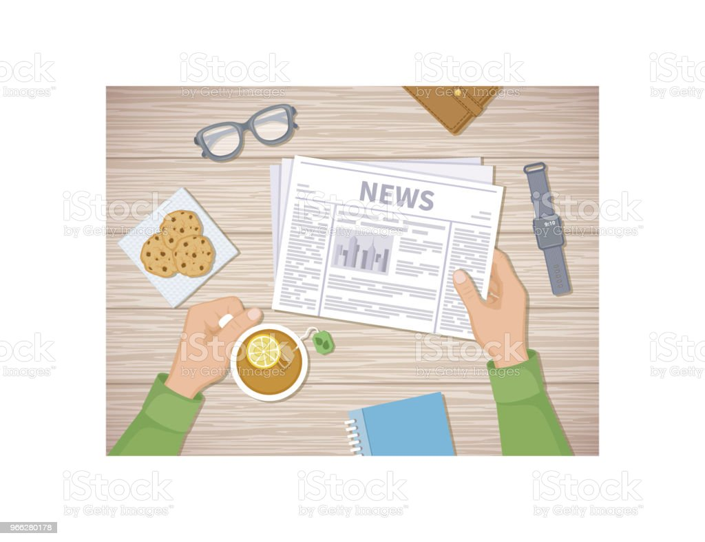 Man Reading The Latest News At Breakfast Human Hands Holding Tea
