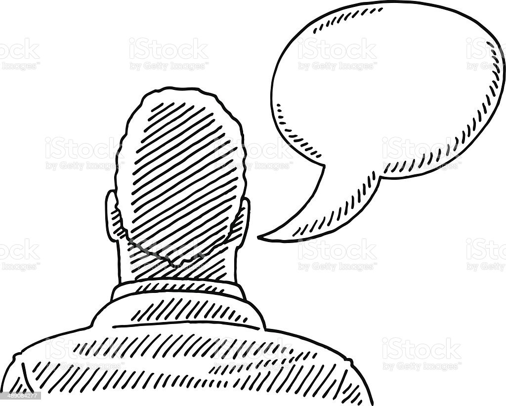 Hand-drawn vector drawing of a Man and a Speech Bubble, Rear View....