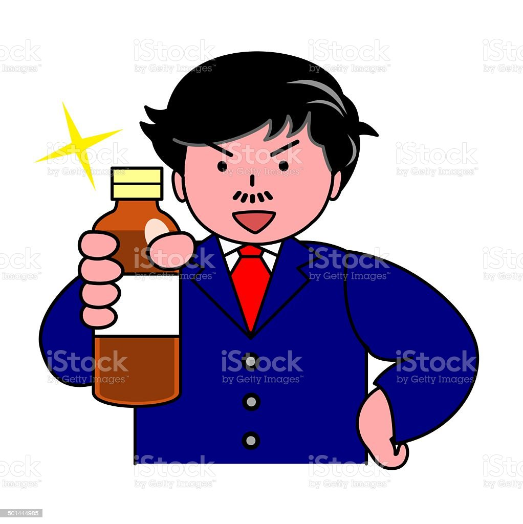 man recommending nutritional drink royalty-free stock vector art
