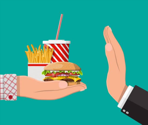 man weigert sich nehmen fast-food mit handbewegung - ungesunde ernährung stock-grafiken, -clipart, -cartoons und -symbole