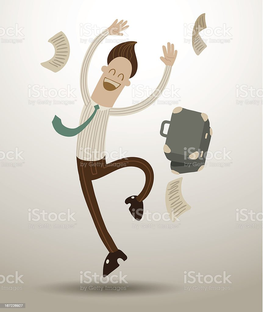 Man rejoicing freedom from work royalty-free stock vector art