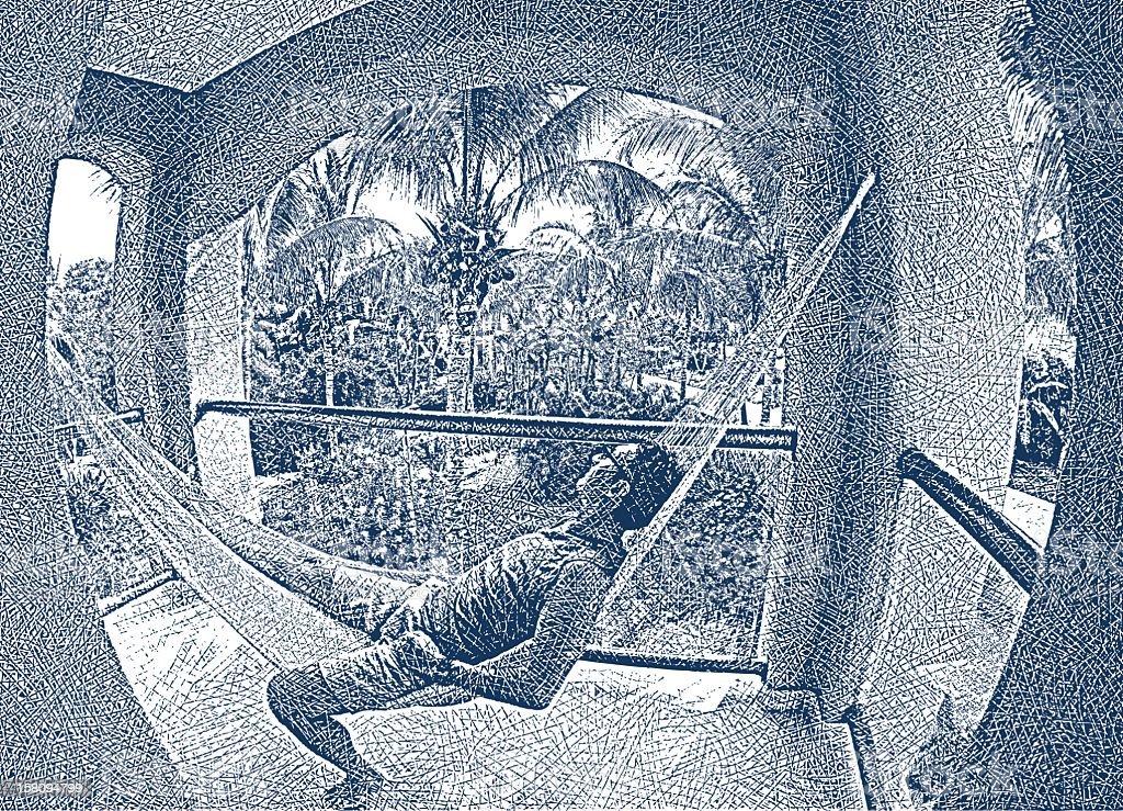 Man Relaxing In Hammock vector art illustration
