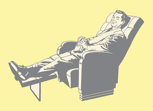 Man Relaxing in Recliner
