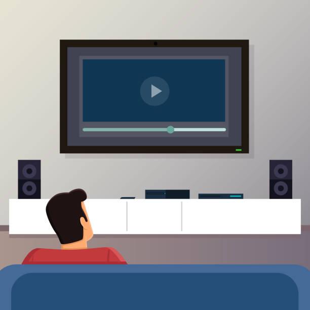 ilustrações de stock, clip art, desenhos animados e ícones de man relaxing in the living room - tv e familia e ecrã