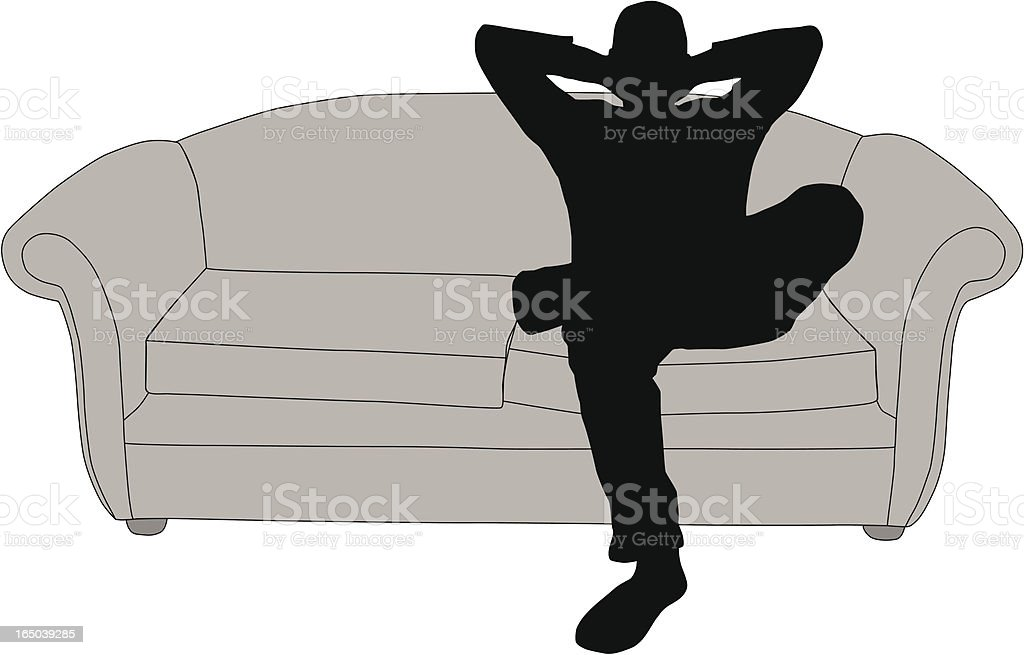 Man relaxing on sofa royalty-free stock vector art