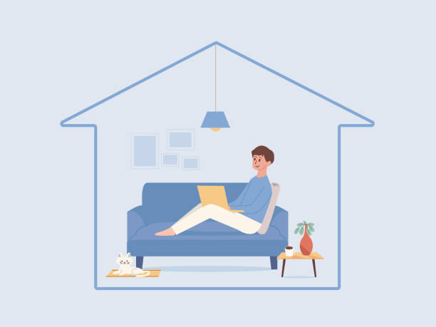 Man relaxing on the sofa in the living room of the home and working online with a computer laptop. vector art illustration