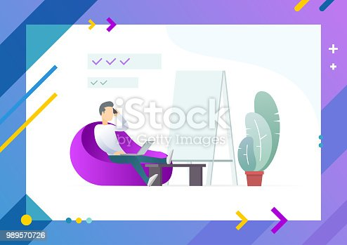 Man resting on soft chair, put hands on table with notebook, tripod board stand nearby vector illustration of male character and plant in pot on tablet screen. Conceptual Web template.