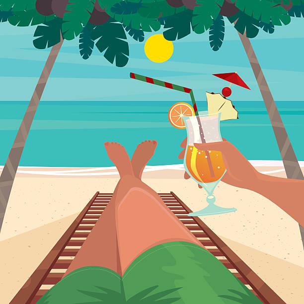 mann entspannen am strand - möbelfüße stock-grafiken, -clipart, -cartoons und -symbole