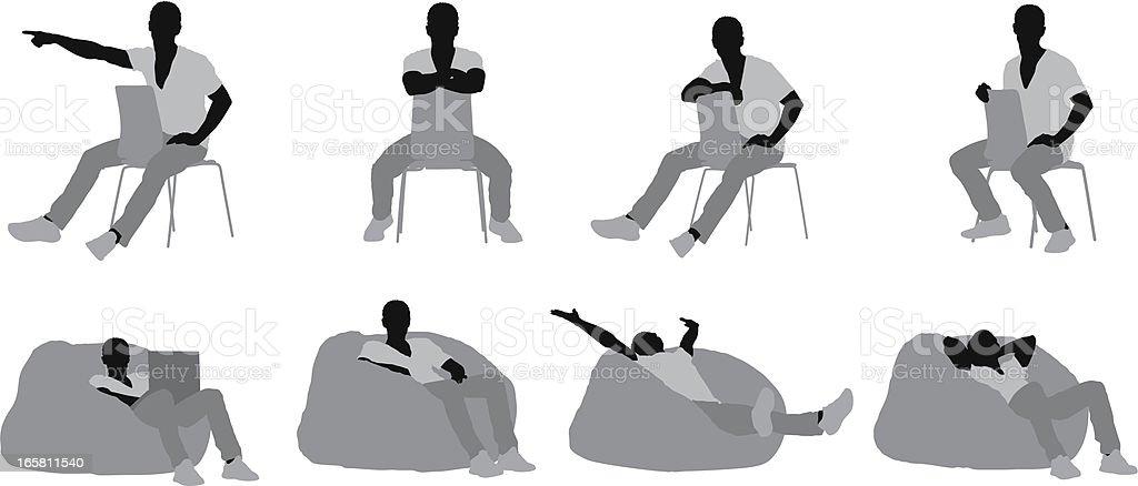 Man resting vector art illustration